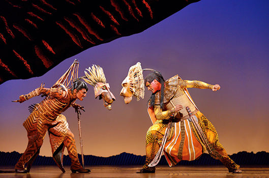 Rob Collins as Mufasa and Josh Quong Tart as Scar (Photo by Deen Van Meer)